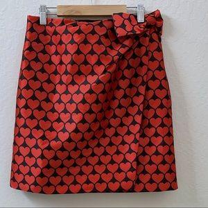 J. Crew wrap skirt in Jacquard hearts